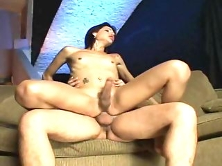 Skinny Brunette Shemale Creamed After Sex