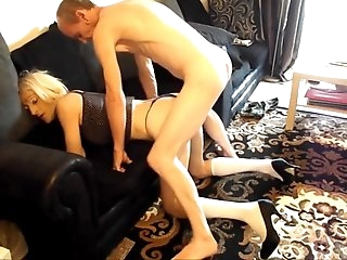Blonde tgirl getting fucked hard