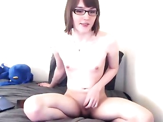 Very charming nice-looking Trap Glasses jerking off Nerd diminutive penis butthole