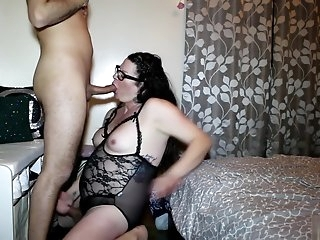 Shemale Transexual sucks big white cock gets fucked hard cum everywhere