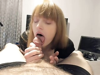Transgendered MtF Sissy sucks Yummy White Cock!!