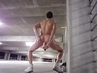 Plugged & Caged Exhibitionist Fucks his Ass with Dildo at Parking Garage