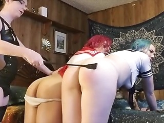 Headmistress Vega punishes and extorts two schoolgirls into fucking 3way