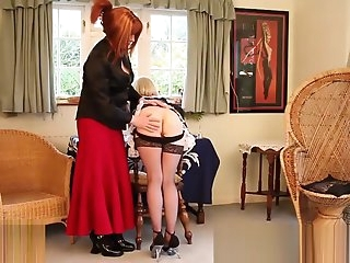 tgirl female-dominator Luci May Spanks blond tranny Maid fine butthole